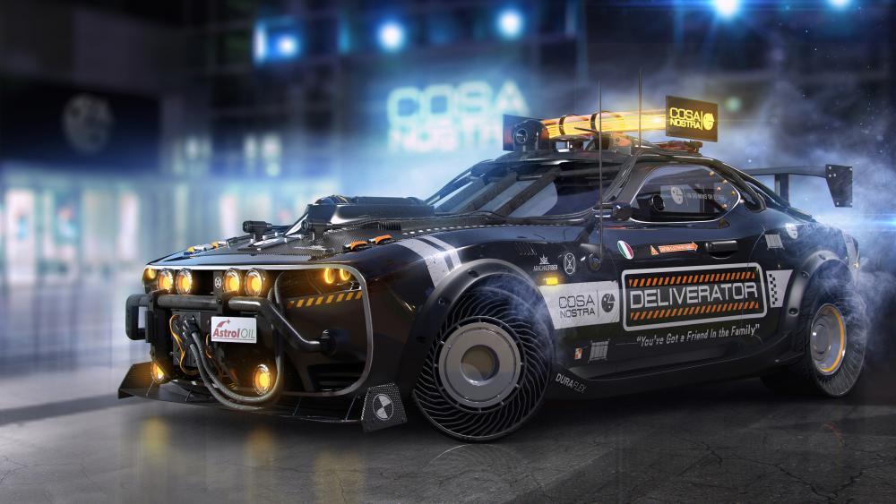 Cyberpunk car wallpaper
