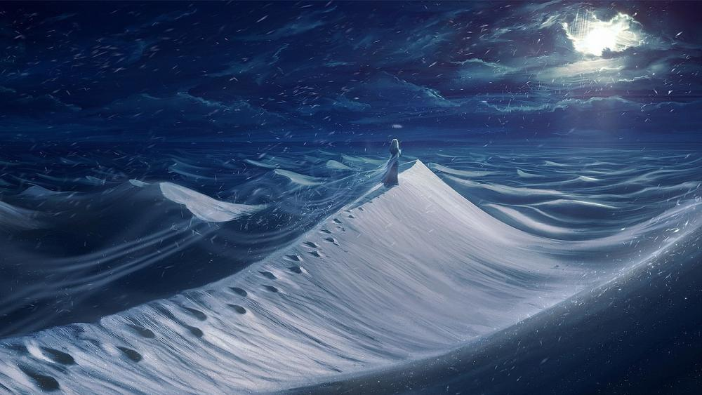 Woman in the snowy dunes wallpaper