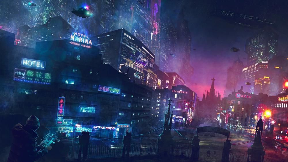 Cyberpunk future city wallpaper