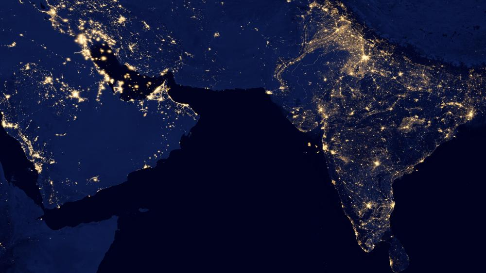 Night Lights of India & the Persian Gulf v2012 wallpaper