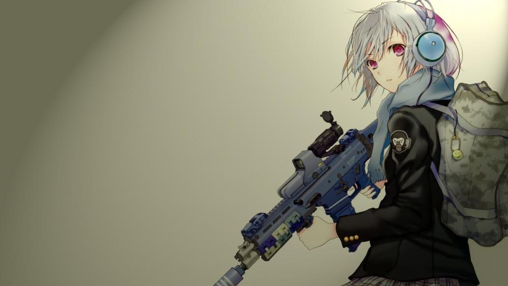 Anime girl with gun wallpaper