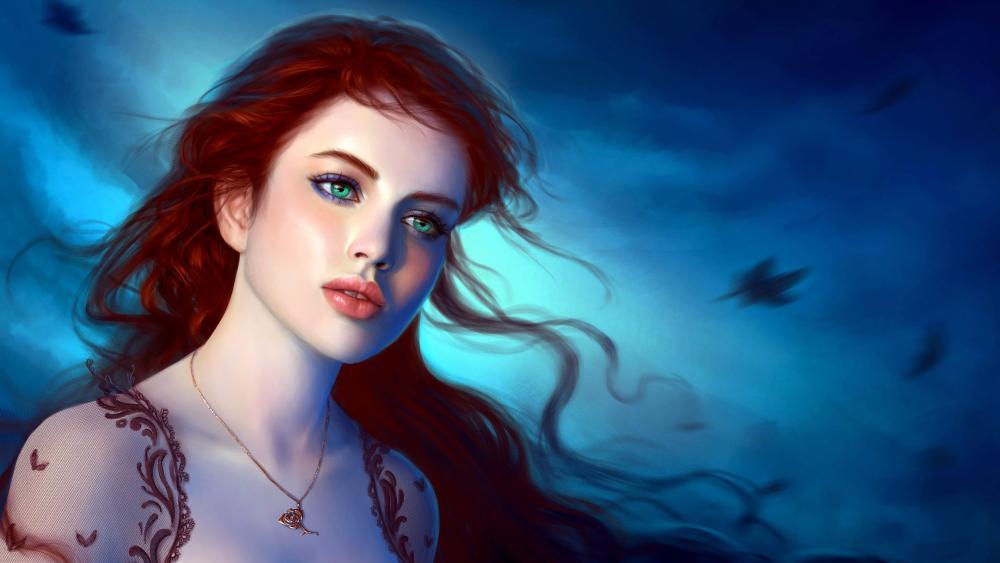 Beautiful fantasy girl with green eyes wallpaper
