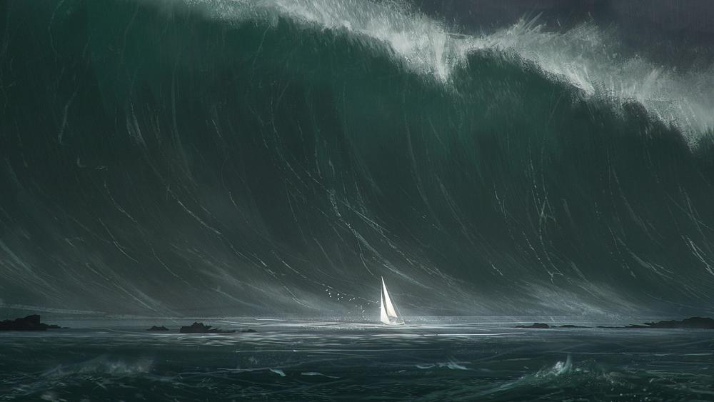 Rogue wave hits sailboat wallpaper