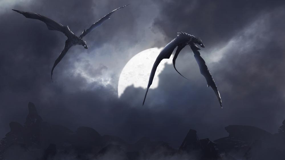 Two black dragons wallpaper