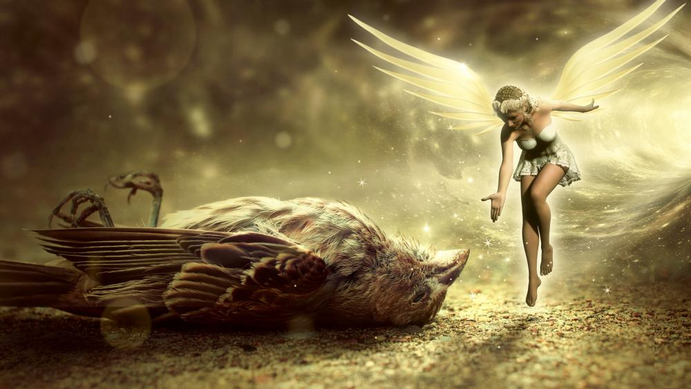 Fairy and a sparrow wallpaper