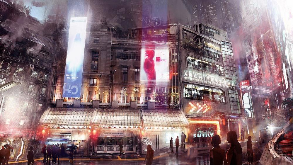 Japanese futuristic city wallpaper