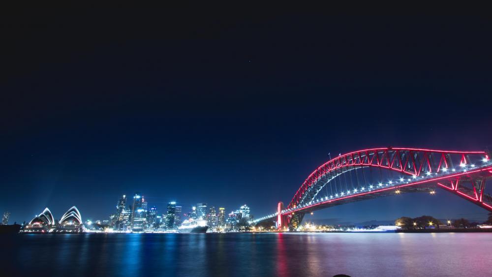 Harbour Bridge at night wallpaper