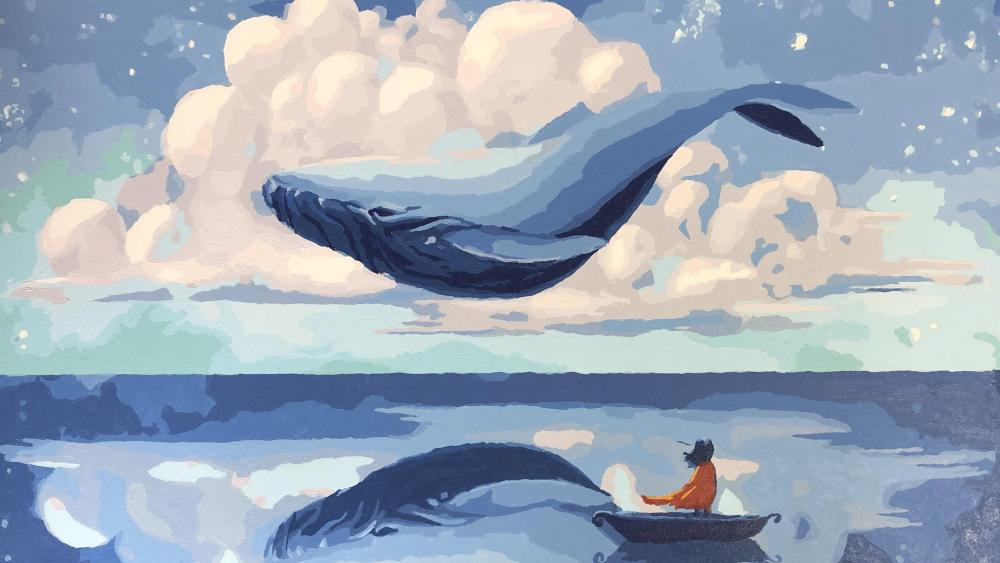 Whale on the sky wallpaper