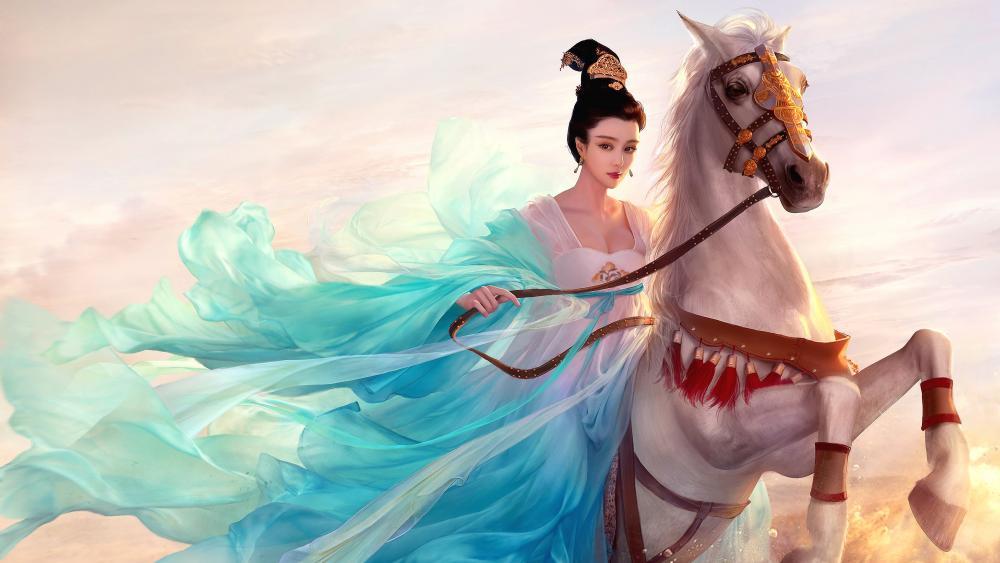 Oriental princess on a white horse wallpaper
