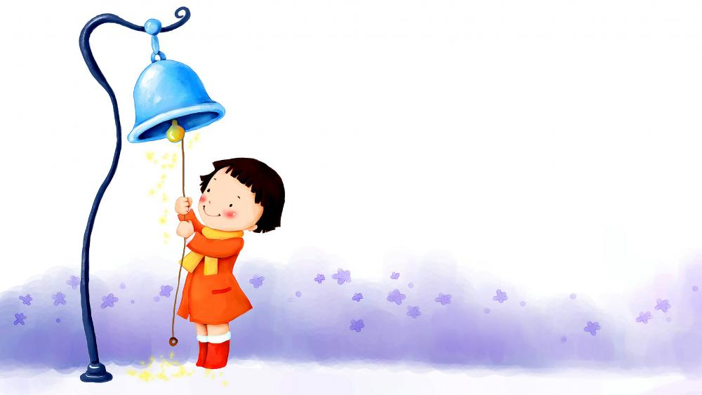 Cute child ringing bell wallpaper