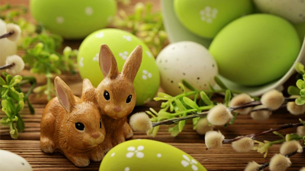 Green easter decoration wallpaper