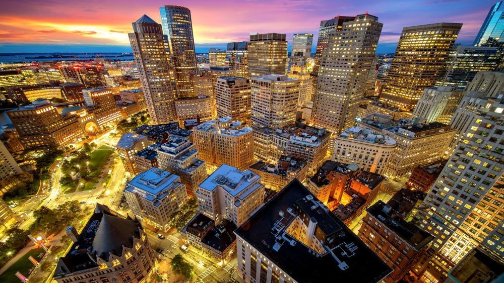 Boston city lights wallpaper