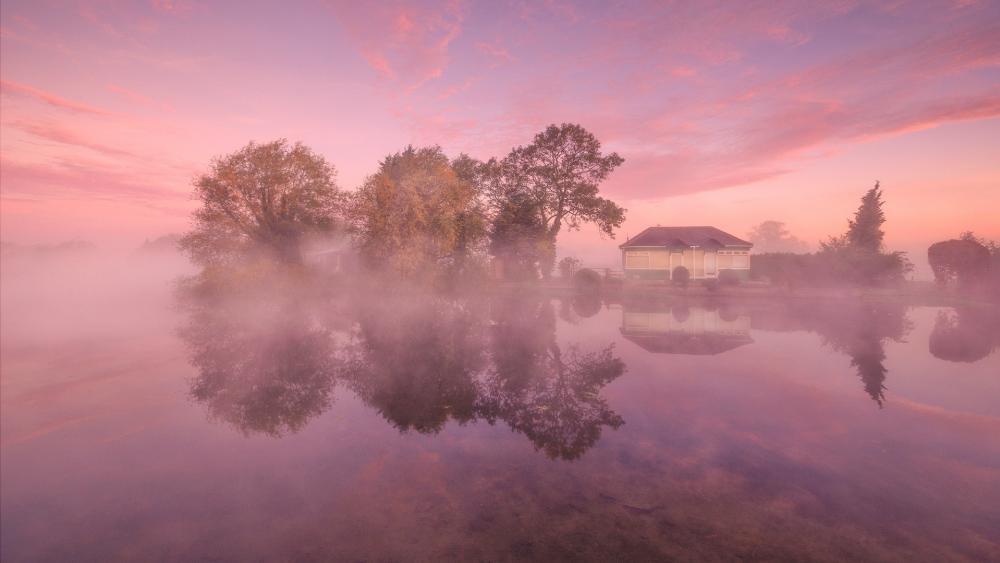 Morning landscape reflection wallpaper