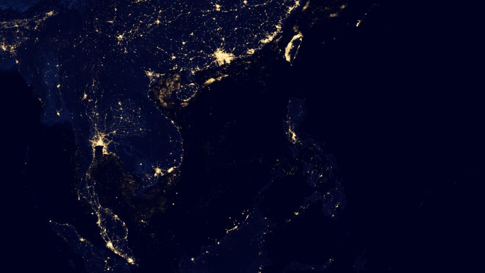 Night Lights in Southeast Asia v2012 wallpaper