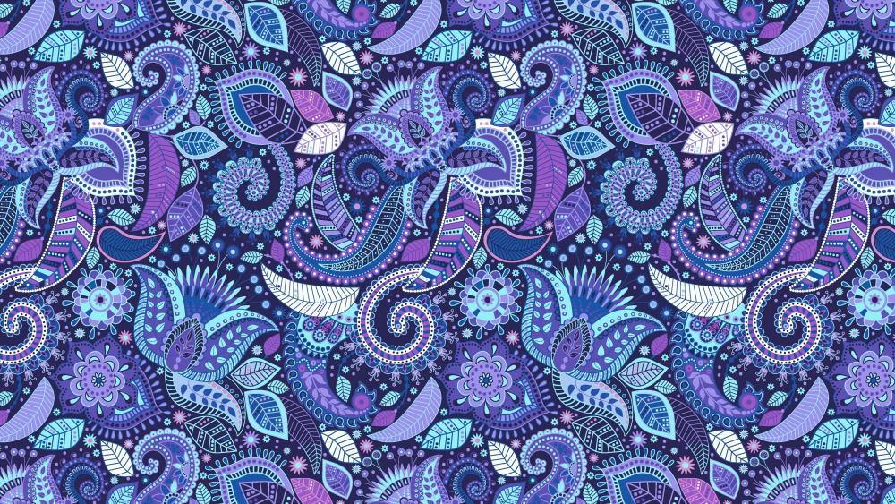 Bluish paisley pattern wallpaper