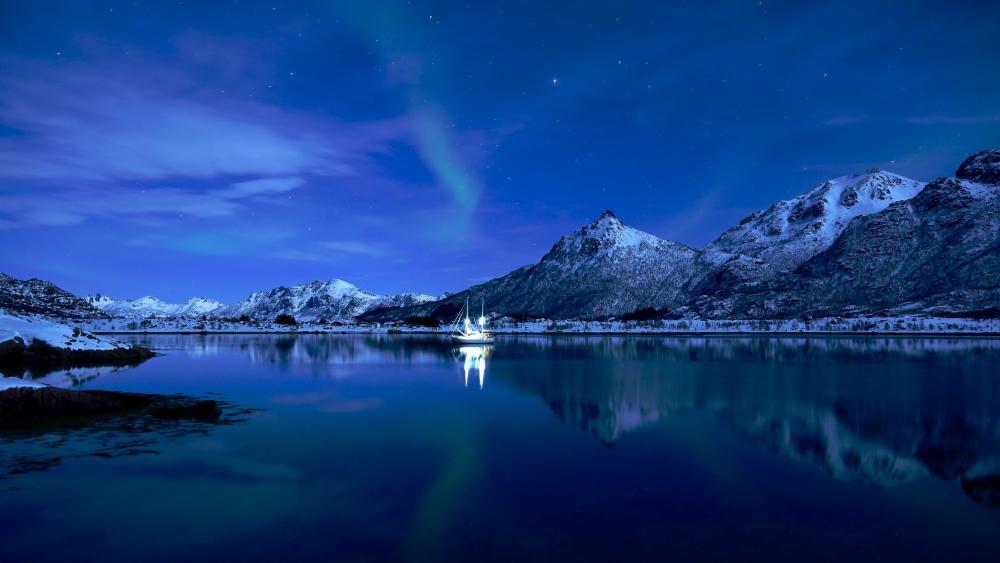 Lofoten night reflection wallpaper