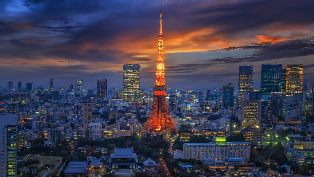 Tokyo Tower at dusk wallpaper