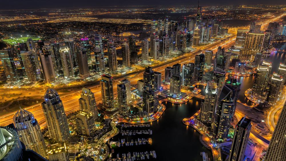 Panoramic view of Dubai at night wallpaper