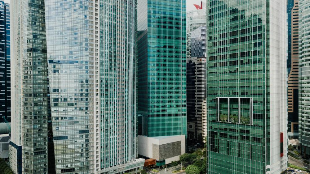 Skyscrapers in Downtown Singapore wallpaper