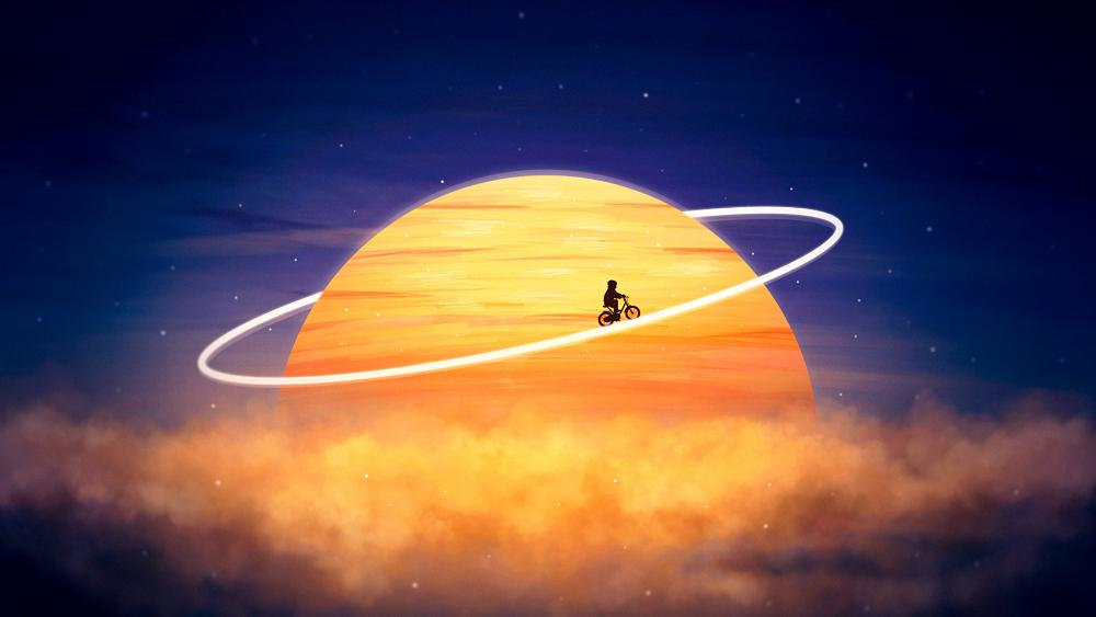 Cyclist silhouette on planetary ring wallpaper
