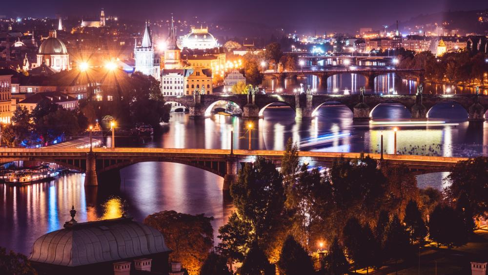 Vltava in Prague at night wallpaper