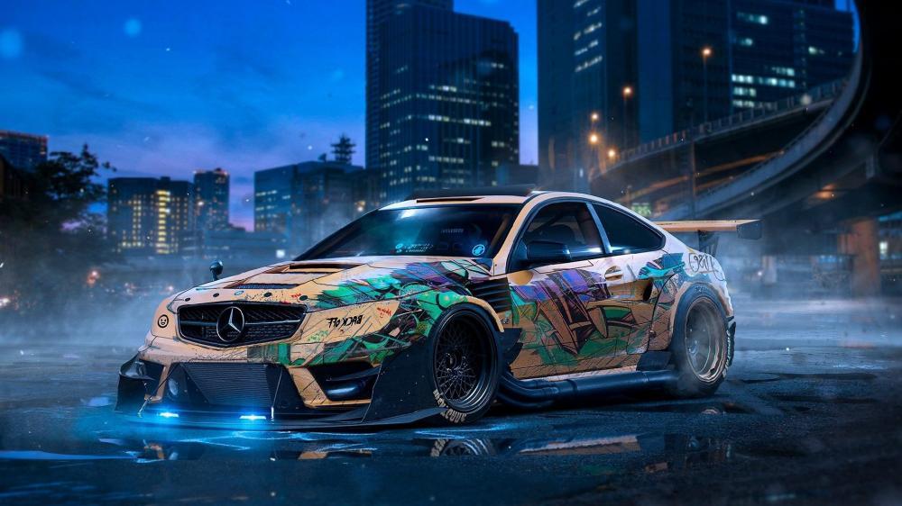 Mercedes drift car wallpaper