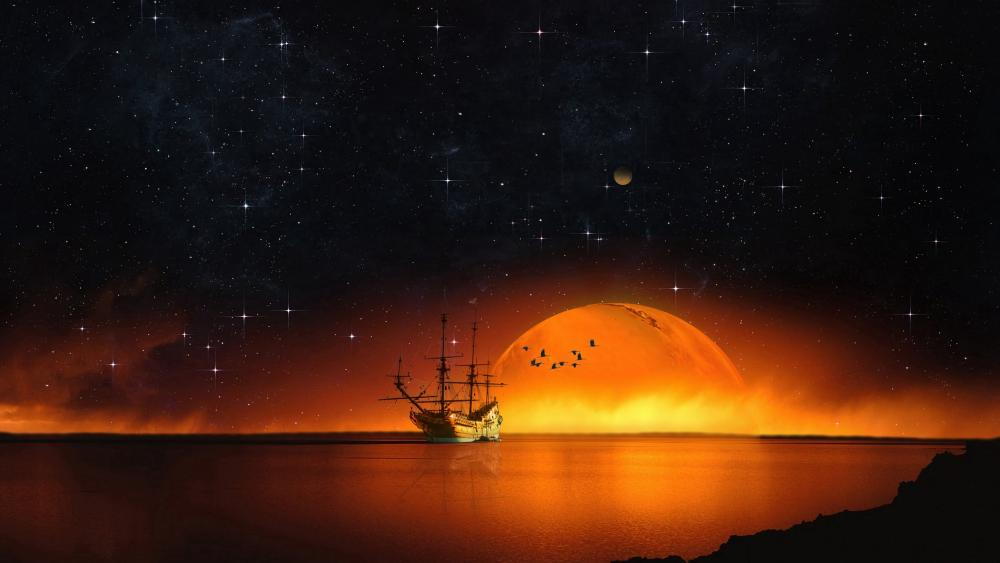 Sailing ship under the starry night sky wallpaper