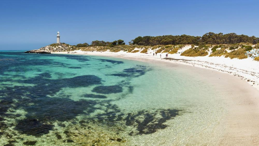 Bathurst Lighthouse from Pinky Beach (Rottnest Island, Western Australia) wallpaper