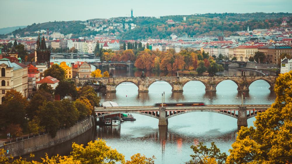 Vltava river in Prague wallpaper