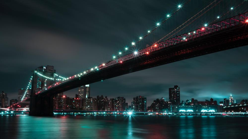 Illuminated Brooklyn Bridge wallpaper