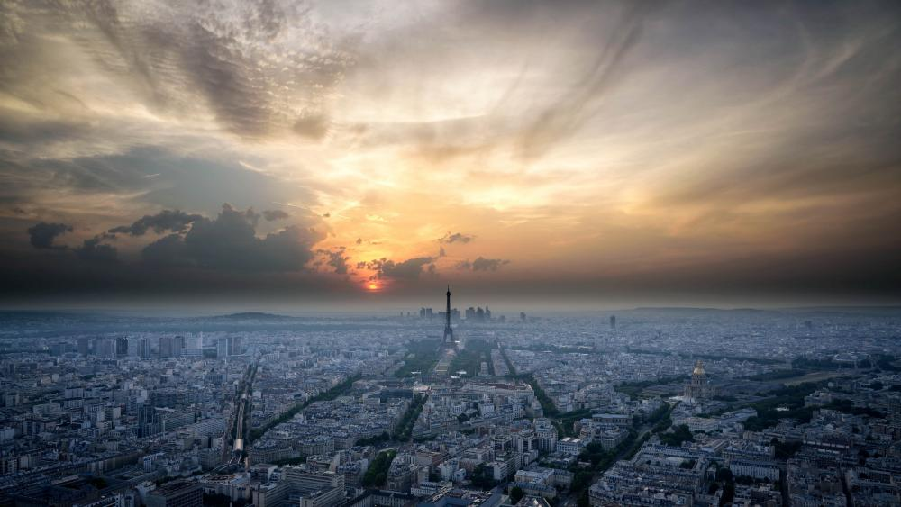 Misty Paris Skyline at sunset wallpaper