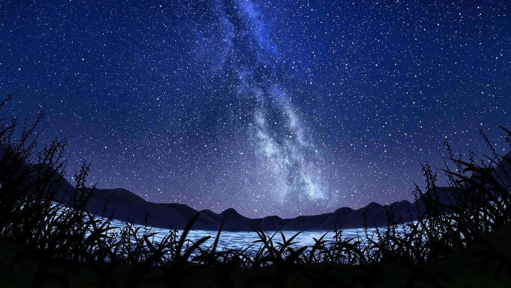 Milky way fantasy landscape wallpaper