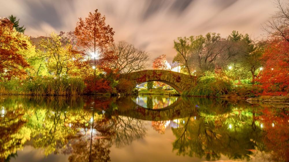 Gapstow Bridge at fall wallpaper