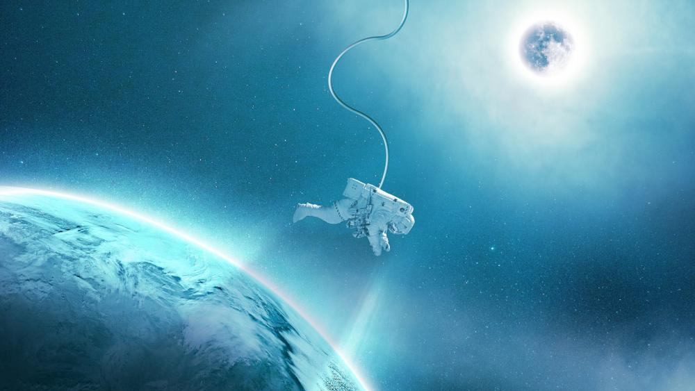Spacewalk in the blue space wallpaper