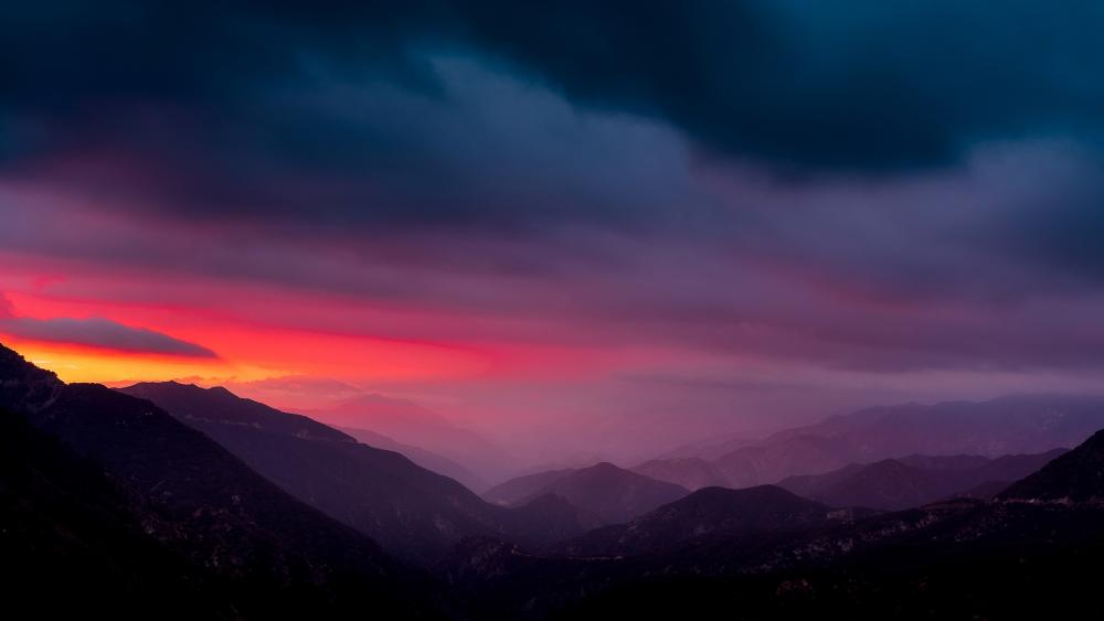 Pink sky over the mountains wallpaper