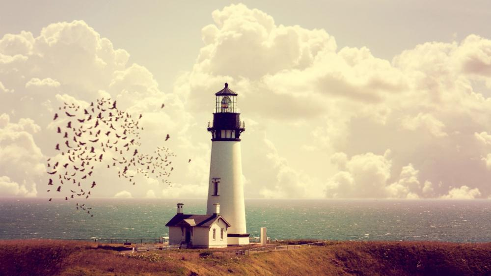Peaceful Lighthouse Photo Manipulation wallpaper