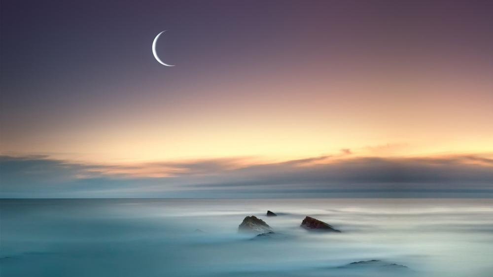 Seascape in the moonlight wallpaper