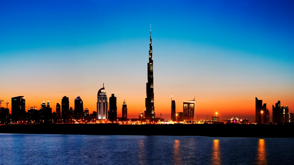 Dubai skyline with Burj Khalifa at sunset wallpaper