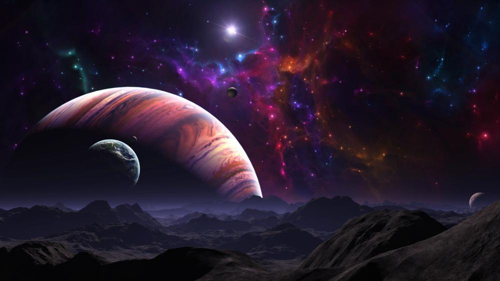 Alien planets in the universe wallpaper