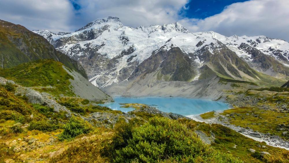 Mount Sefton and Mueller Lake (New Zealand) wallpaper
