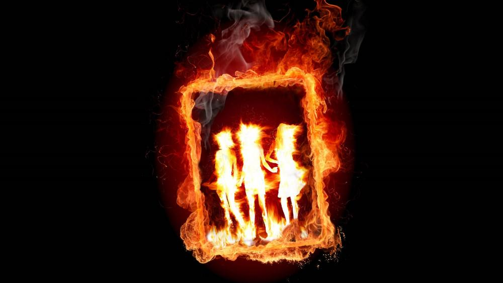 Frame in fire wallpaper