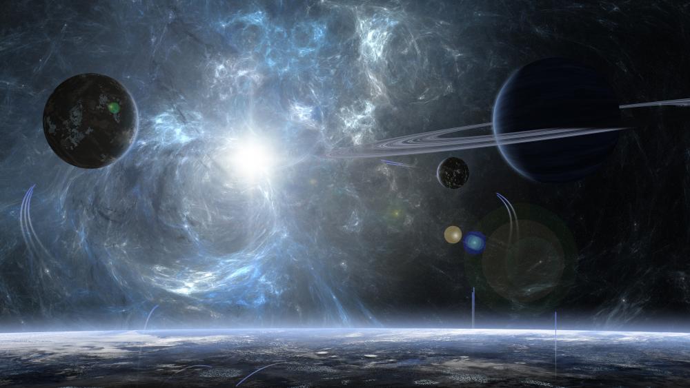 Planets space art wallpaper