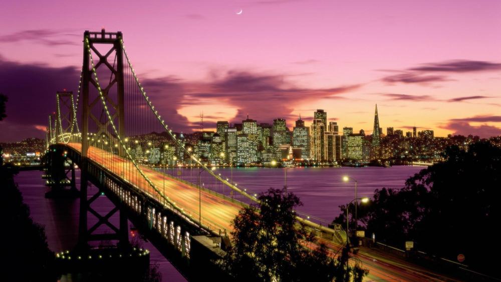 Oakland Bay Bridge Long Exposure Photography wallpaper