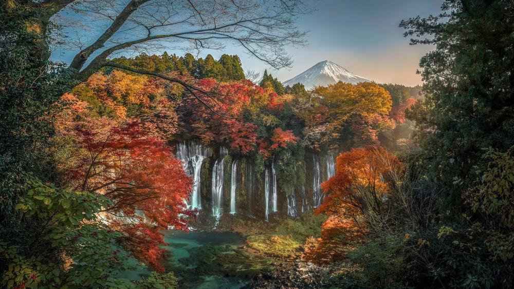 Shiraito Falls and Mount Fuji wallpaper