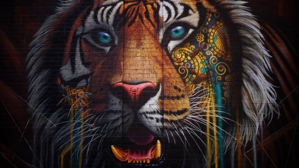 Tiger mural in SoHo, New York wallpaper
