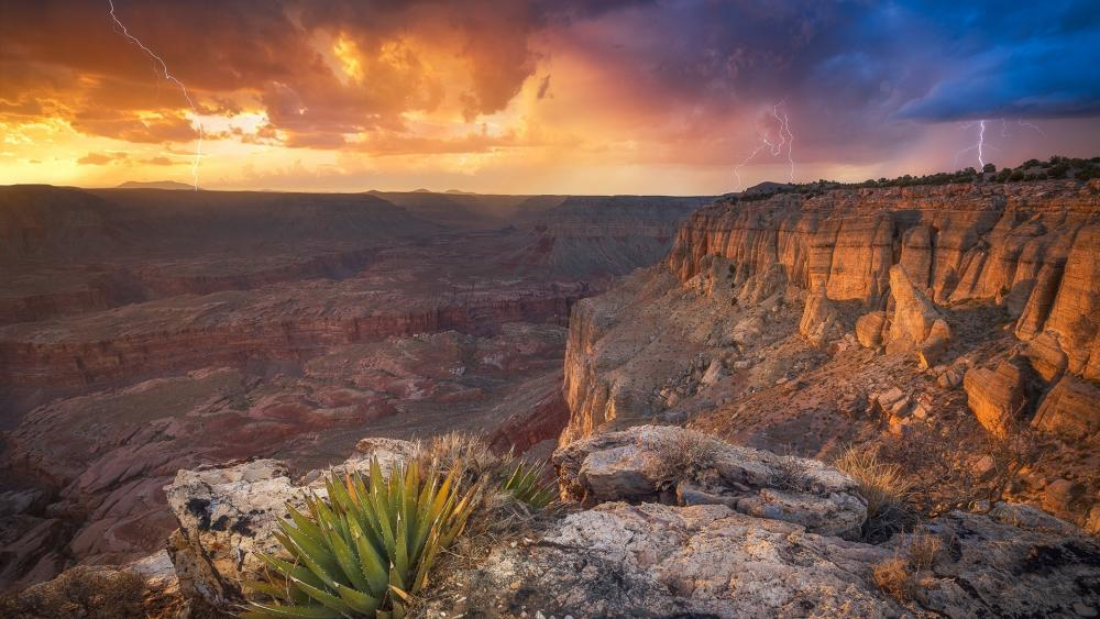 Lightning strikes above Grand Canyon wallpaper