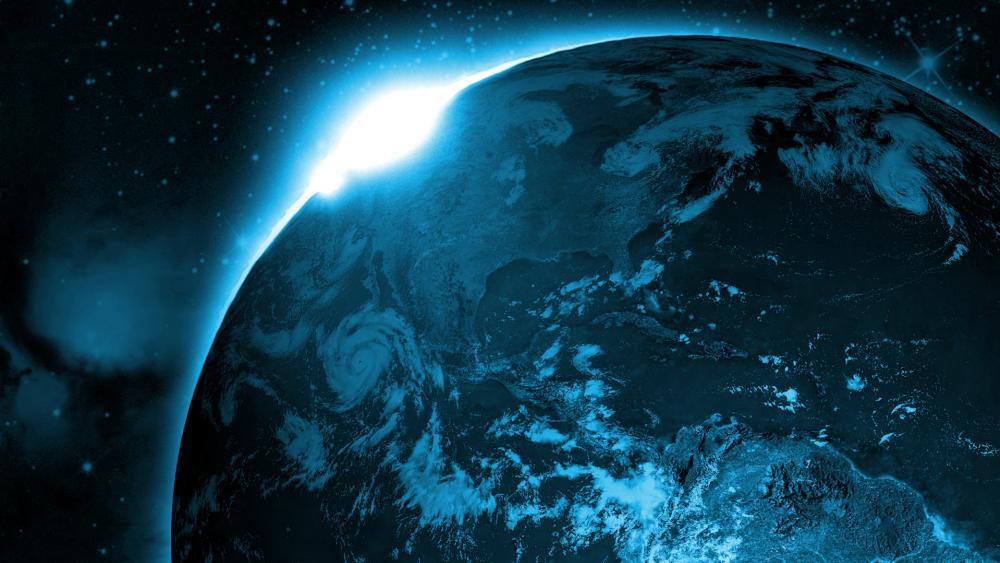 Glowing blue Earth wallpaper