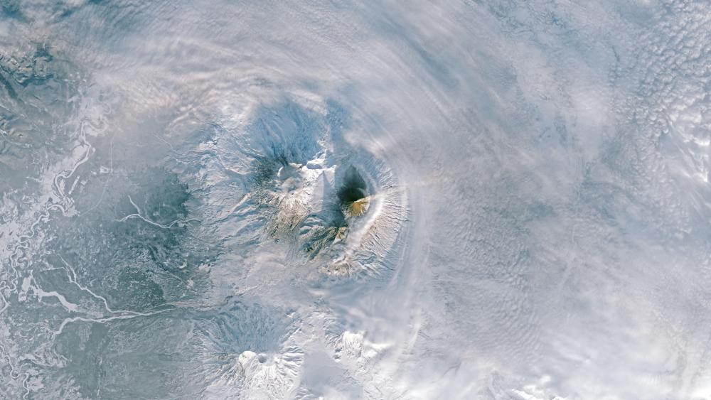 Plume Over the Kamchatka Peninsula wallpaper