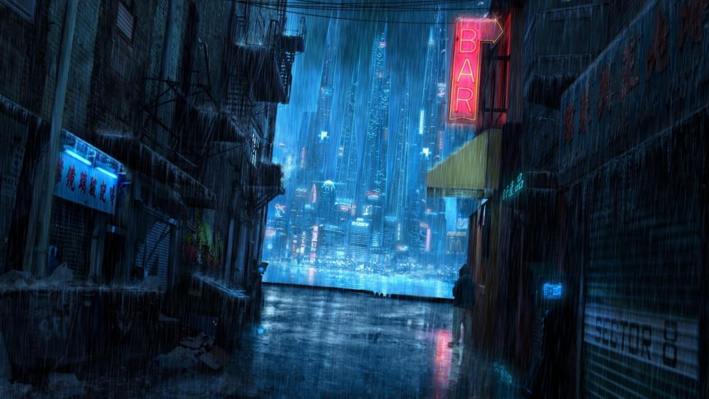Futuristic city on a rainy night wallpaper