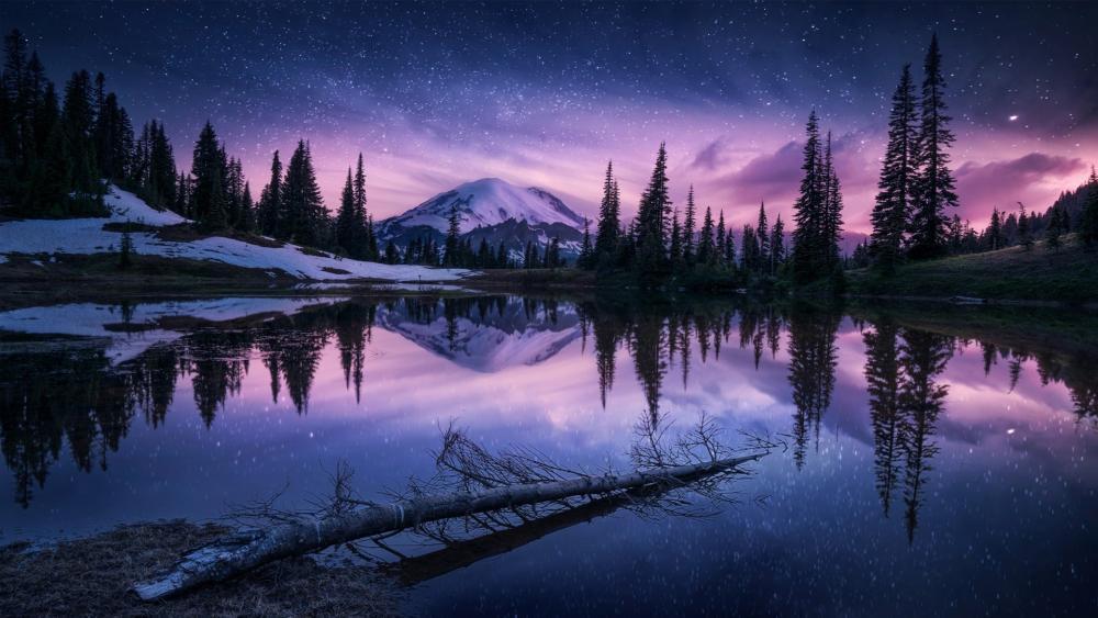 Winter night reflection wallpaper